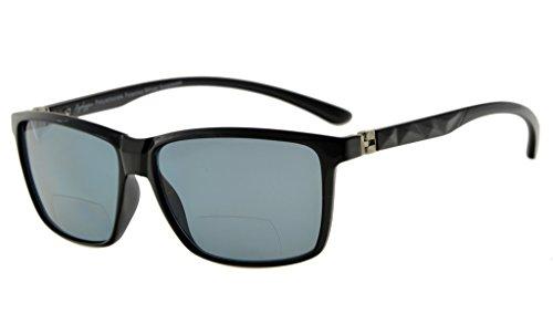 Eyekepper 180 ° Spring Scharniere Polycarbonat Polarisierte Bifokale Sonnenbrille (Schwarzer Rahmen, Grau Linse +3.0)