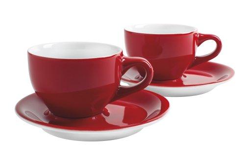 Kahla 21D250A60017C Café Sommelier |Cappuccino Tassen-Set Porzellan | 200 ml rund rot weiß mit...