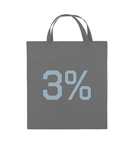 Buste Comiche - 3% - Logo - Borsa In Juta - Manico Corto - 38x42cm - Colore: Nero / Rosa Grigio Scuro / Blu Ghiaccio