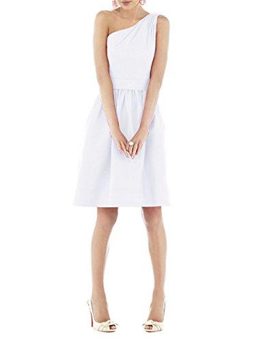 Find Dress Femme Sexy Robe Demoiselle d'Honneur Epaule Asymétrique Robe de Soirée/Cocktail/Cérémonie Courte en Satin Blanc