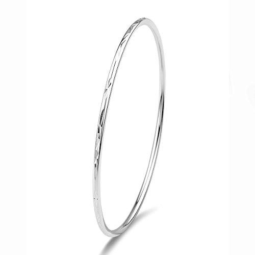 Merdia 925er Sterling Silber Armreif Armband Mit Einfachem Geschnitzten Blumenmuster - 7cm (925 Armreif)