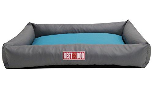 "Hundekissen, Hundebett, Hundesofa, Hundekorb, Kunstleder ""BASIC"" (Hellgrau/Türkis, XL – 120x90x18cm Liegefläche : 95x65cm) - 3"