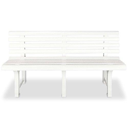 Festnight Gartenbank Sitzbank Parkbank 145,5 x 49 x 74 cm Kunststoff Weiß