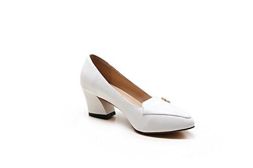 AllhqFashion Femme Pointu Cuir de Bœuf Couleur Unie à Talon Correct Chaussures Légeres Blanc