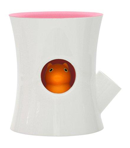 Qualy Log & Squirrel Pot à fleurs avec système d'irrigation intégré Weiß/Pink