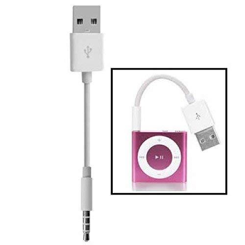 SB bis 3.5mm Klinkenstecker Daten Sync & Last Kabel für iPod Shuffle 1st /2nd /3rd /4th /5. /6. Generation, Länge: 10cm(weiß) ()