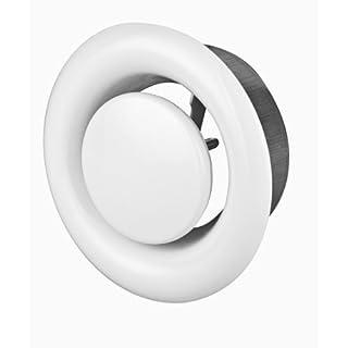 Tellerventil Anemostat Metall Stahl weiß 150 mm 150mm Anschlussdurchmesser für Lüftung Bad und Küche Zuluft Abluft Ventil AMW