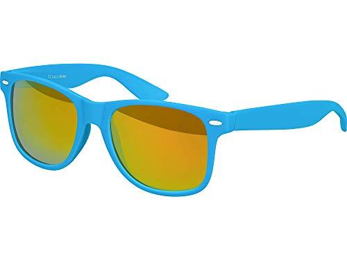 Balinco Hochwertige Nerd Sonnenbrille Rubber im Wayfarer Stil Retro Vintage Unisex Brille mit Federscharnier - 96 verschiedene Farben/Modelle wählbar (Hellblau - Rot/Orange verspiegelt)