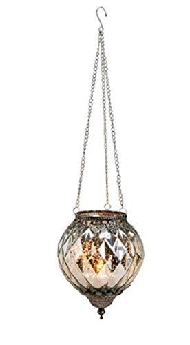 G.W. Orientalisches Hängewindlicht, Laterne aus Glas und Metall mit Kette, Farbe Altsilber, aufwendig verziert, Glashöhe 19 cm mit 15 cm Durchmesser, tolle Deko Nicht nur im Garten