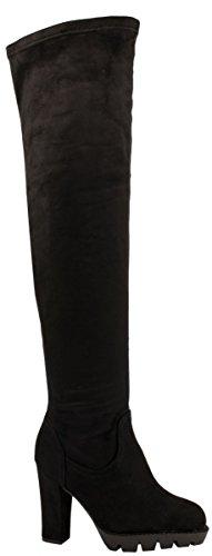 Elara Damen Stiefel | Bequeme Overknee High Heels | Blockabsatz Wildlederoptik, Schwarz 37 (Overknee-boot Plateau Stiletto-heel)
