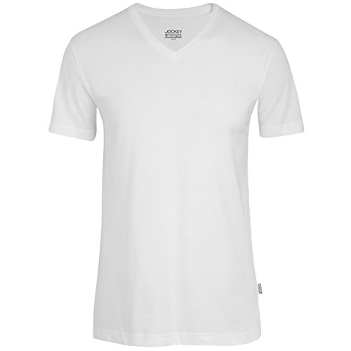 JOCKEY Herren T-Shirt / Unterhemd V-Neck - American Shirt / Unterhemds - 100% Baumwolle, Farbe Weiss, Schwarz, Grau, Rot, Marine, Gr. S-6XL, Gr. 3XL, Weiss Verkauf Jockey Unterwäsche