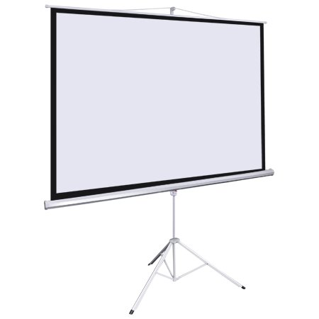 Projection Wide Screen 100-inch Diagonal 4:3 Manual Pull Down White Steel Case & Adjustable 67' - 118' Tripod Stand Portable For Home Theater Office Video Projector
