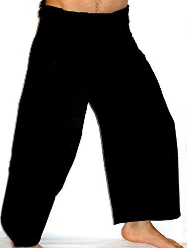 Fisherman Thaï Pantalon Pêcheur Homme Yoga Taille unique Yoga tissu épais Noir