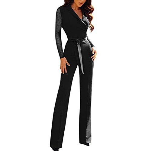 arm V-Ausschnitt Elastische Taille Jumpsuit mit Gürtel Frauen Patchwork Punkt Langarm Rompers Casual Elegant Hoher Taille Party Spielanzug Hose ()