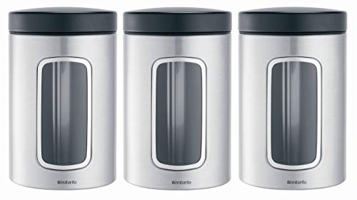 Brabantia 335341 - Botes de cocina con ventana transparente, 3 unidades, 1,4 L, color gris metalizado