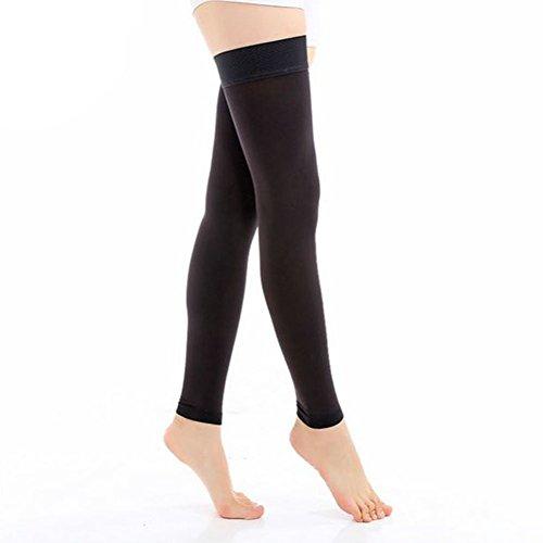 TININNA Frauen Damen Footless Gewichtsverlust Elastisch Kompressionsstrümpfe Kompression Socken Strümpfe Stützstrumpfhose Stützstrümpfe Kniestrumpfe 20-30mmHg M schwarz