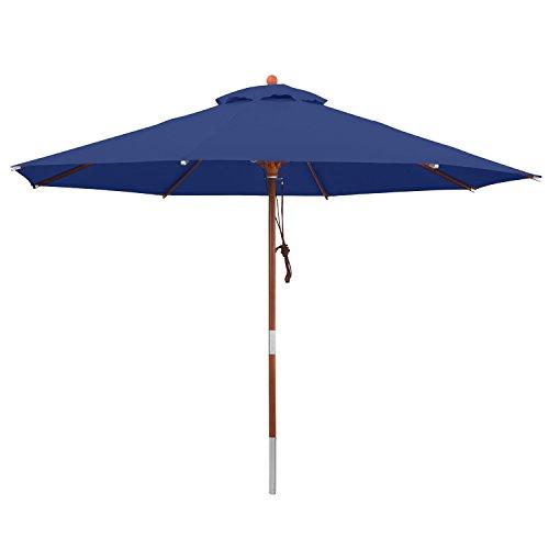 anndora Sonnenschirm Gartenschirm 3,5 m rund UV Schutz + Winddach - Blau