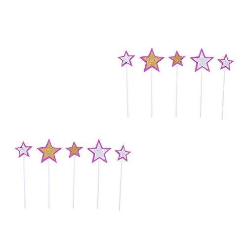 Homyl 10pcs Muffin Aufsatz Stern Form Tortenaufsatz Lebensmittel Obstaufsatz, Dekoration für Geburtstags- und Hochzeit Party - Lila, 3 cm