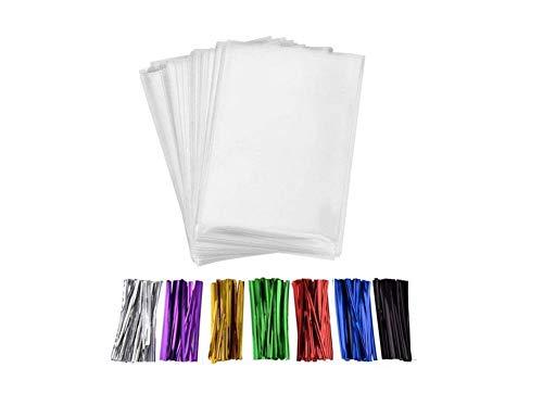 Fully 100stk. Selbstklebend Beutel Kekstüten Gebäcktüten Folienbeutel Tüten Zellglasbeutel + 100stk. Bindebänder (25X35CM/10X14)