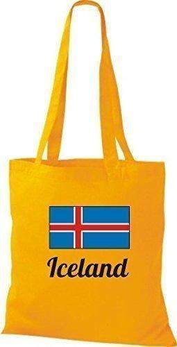 ShirtInStyle Stoffbeutel Baumwolltasche Länderjute Iceland Island Farbe Sky goldgelb
