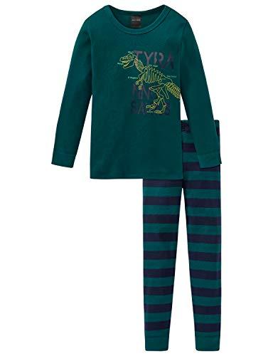 Schiesser Jungen Supersaurus Kn Anzug 3-teilig Zweiteiliger Schlafanzug, Grün (Dunkelgrün 702), (Herstellergröße: 128) -