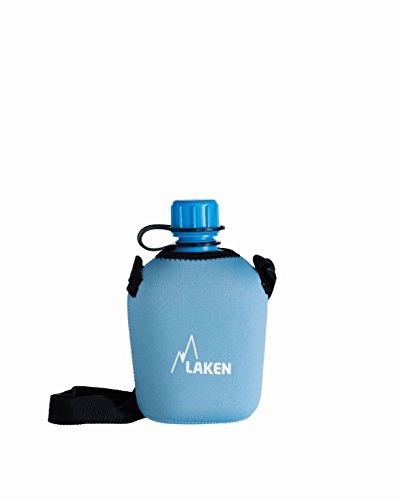 Laken Leichte Trinkflasche aus Polypropylen 1L mit Neopren Tasche Blau