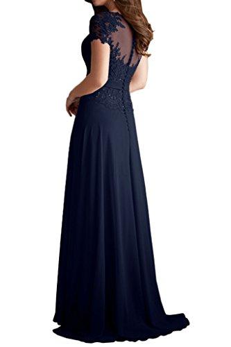 Milano Bride Damen Herrlich Rundkragen Kurzarm Chiffon Abendkleider Festkleider Promkleider Steine Applikation Lang Navyblau