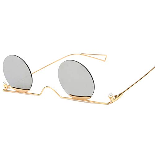 Daawqee NEW Arrival Unique Rimless Retro Small Round Sunglasses Metal Frame Purple Red Clear Lens Vintage Women Shade Eyewear Silver