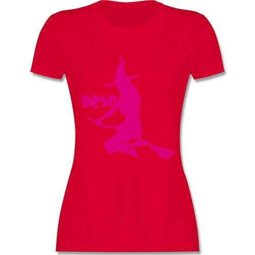 Halloween - Hexe auf dem Besen - tailliertes Premium T-Shirt mit Rundhalsausschnitt für Damen Rot