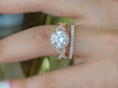 Addamas - fede nuziale con diamante da 1,65 carati, taglio rotondo, in oro rosa massiccio 14 k 18 k, per san valentino e 18ct rosa oro, 57 (18.1), cod. p-lrn-1125-rg-18k-p
