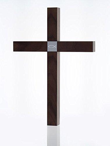 Holzkreuz groß - Nussbaum - Motiv Fisch (Großen Nussbaum)