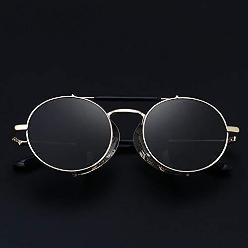 Retro Steampunk Style Unisex Inspirieren Round European and American Trend Sunglasses Persönlichkeit Round Frame Windshield Sonnenbrillen,Black