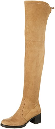 Buffalo London2865 MICRO STRECH - Stivali sopra il ginocchio con imbottitura leggera Donna , Beige (Beige (Roble 01)), 40 EU
