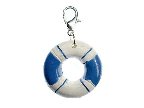 Miniblings Rettungsring maritim Charm Anhänger Schiff Segeln Boot blau weiß