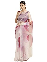 Womanista Organza Floral Print Saree with Blouse Piece(WM1312_ Off White & Pink_ Onesize)