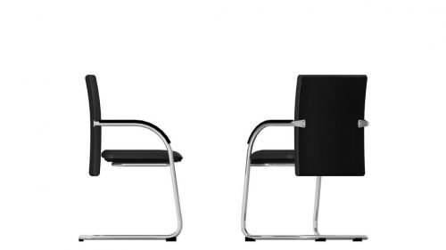 Bisley Besucherstuhl Classy, Metall, 733 Schwarz, 68 x 60 x 56 cm - L-förmige Home-office