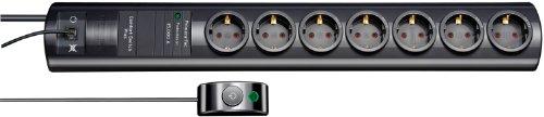 Brennenstuhl Primera-Tec Comfort Switch Plus Überspannungsschutz-Steckdosenleiste 7-fach schwarz mit Schalter, 1153300417