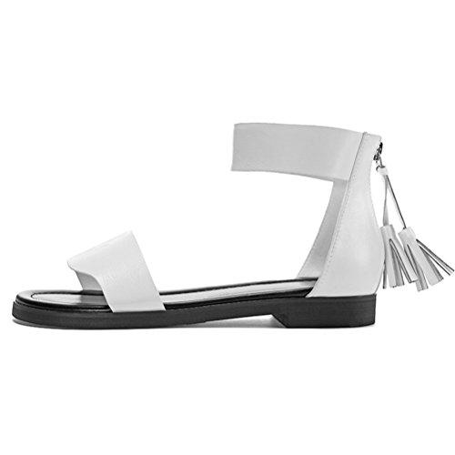 Damen Sommer Runde Offene Zehen Römische Stil Weite Band Reißverschluss am Rücken mit Quaste Dicke Boden Flach Einfache Bequeme Sandalen Weiß