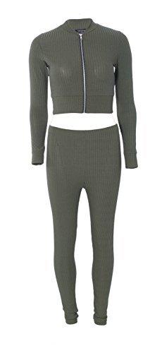 RE TECH UK donna zip a costine corto bomber e Leggings COMPLETO DA CASA ABBIGLIAMENTO comodo tuta Verde Kaki