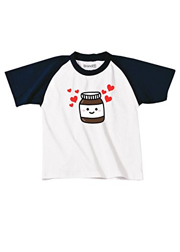 Nutella Kinder Baseball T-Shirt - Weiss & Blau 9-11 Jahre (Tee Fitted Shirt Baseball Womens)