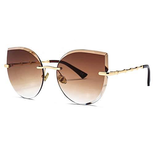 Sport-Sonnenbrillen, Vintage Sonnenbrillen, Frameless Sunglasses For Women Brand Designer NEW Pink Brown Cat Eye Sun Glasses For Ladies Gift Uv400 Metal as show in photo gold with blue