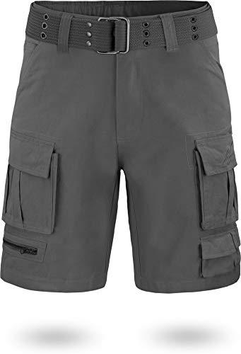 normani BDU Ranger Shorts Kurze Sommerhose Bermuda mit Vintage Gürtel aus umweltfreundlicher Bio-Baumwolle Farbe Anthrazit Größe 4XL -