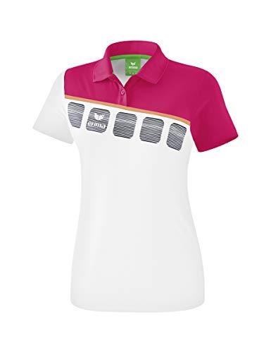 Erima Mädchen 5-C Poloshirt, weiß/Love Rose/Peach, 152 (Mädchen-mesh-polo)