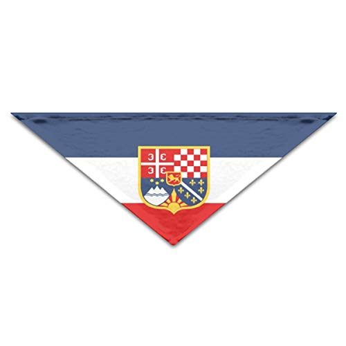 hulili Puppy Dog Cat Pet Scarf Fictional Flag of The Federal Republic of Yugoslavia 11.8x27.5 inches Dog Bandanas - Federal Triangle