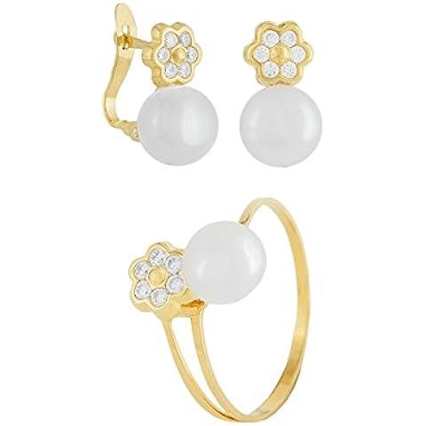 Joyas Parejo Set orecchini e anello per ragazza, in oro 18 K, idea regalo per la comunione, 750/1000, perline e fiori con