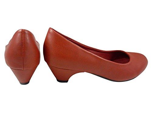 Chaussures Escarpins à petit talon similicuir Rouge
