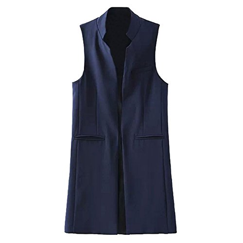 Highdas Women Long Vest Coat Fashion Style Waistcoat Sleeveless Jacket Outwear Casual Top Marine