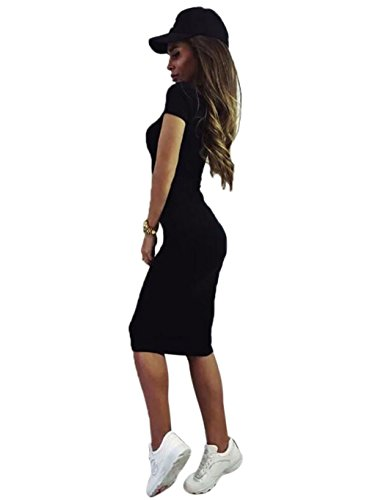 Teamyy Nouvelle Mode Robe Casual Sexy à Manches Courtes Col Rond Solide Elastique Robe pullover Noir