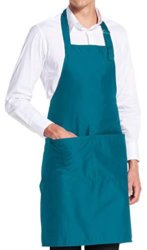 vanVerden - Premium Schürze - Hell-Blau Blanko - Hell-Blaue Latz-Schürze Küche Saft