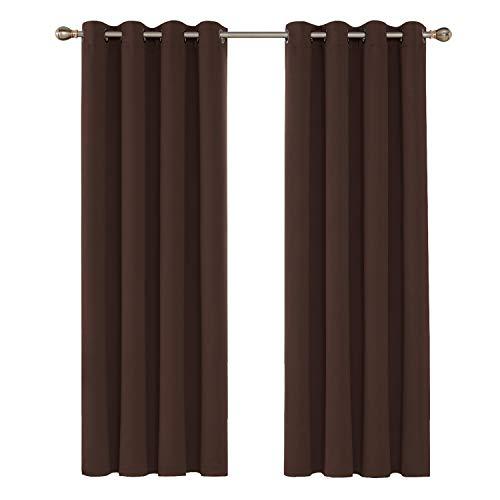 Deconovo Tende Oscuranti Termiche Isolanti Moderne con Occhielli per Finestre Soggiorno Interni 132x213cm 2 Pannelli Cioccolato
